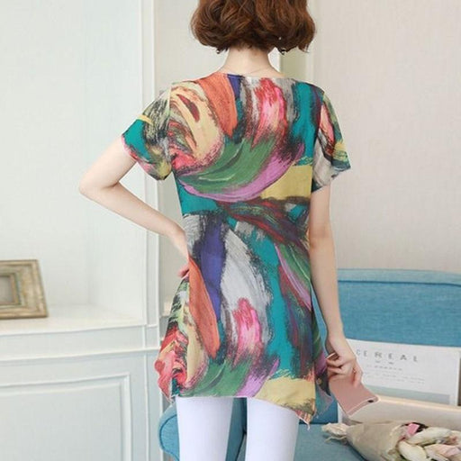 Women's Casual Short Sleeve O-Neck Chiffon Rainbow Flower Printed Blouses - SolaceConnect.com