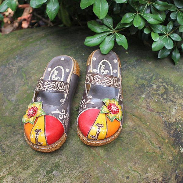 Vintage Flower Slides Ladies Genuine Leather Platform Slipper Sandal Shoe - SolaceConnect.com
