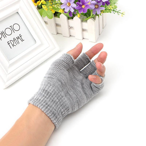 Fingerless Gloves Woman Winter Knitted Pair 1 Stretch Half Finger Elastic Soft Warm - SolaceConnect.com