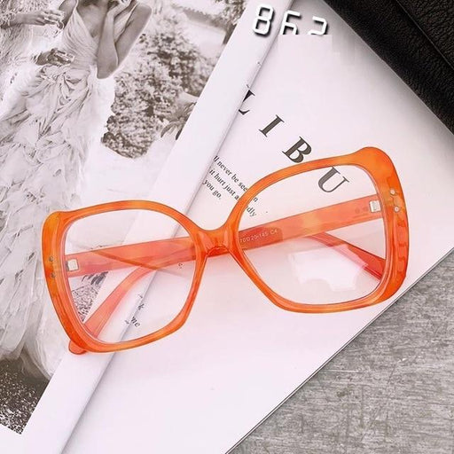 Women's Retro Vintage Rivet Frames Cat Eye Square Oversized Glasses - SolaceConnect.com