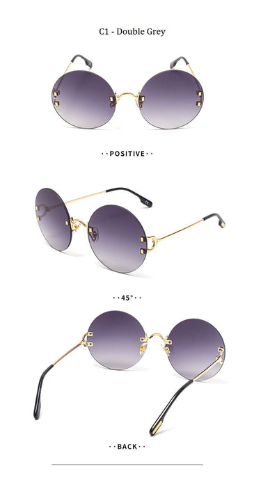Women's High Quality Vintage Gradient Rimless Round Sunglasses - SolaceConnect.com