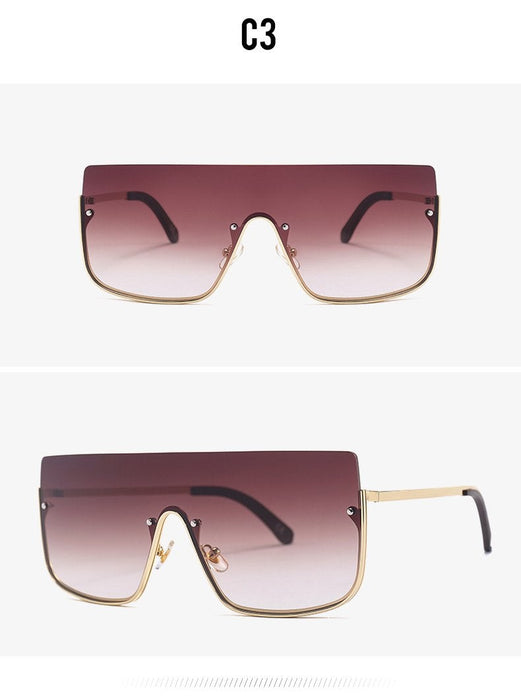 Women's Luxury One Piece Oversized Retro Semi-Rimless Square Sunglasses - SolaceConnect.com