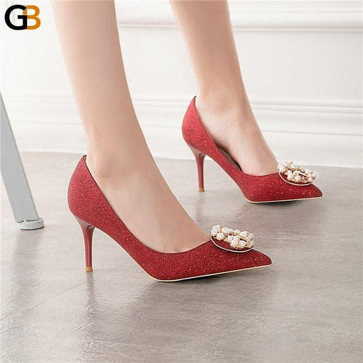 Women Pearl 7cm High Heel Glitter Crystal Pumps Lady Wedding Gold Silver Thin Heels Female - SolaceConnect.com