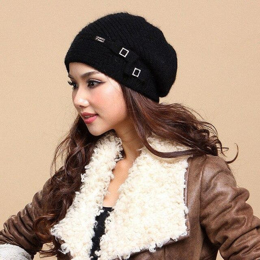 Charles Perra 2020 NEW Women Hats Winter Thicken Double Layer Thermal Knitted Hat Elegant Casual - SolaceConnect.com