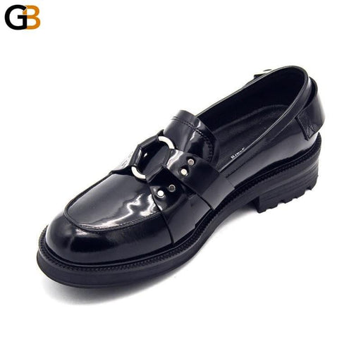 Designer Metal Buckle Mens Thick Platform Genuine Leather Formal Shoes Spring Slip On Office Work - SolaceConnect.com