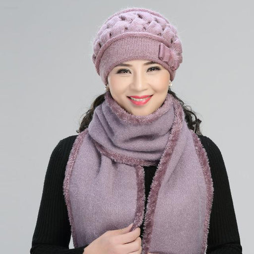 2pcs Middle Aged Rabbit Hair Hat Elderly Knitted Wool Cap Lady Winter Mother Grandma Thickening - SolaceConnect.com