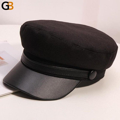 Women's Simple Woollen Leather Flat Top Korean Fashion Military Navy Hats - SolaceConnect.com
