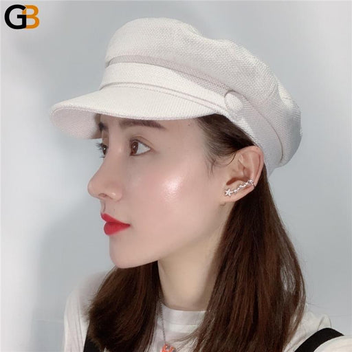 Women's Summer Solid Colour Casual Flat Top Breathable Navy Visor Cap - SolaceConnect.com