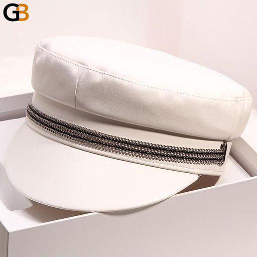 Women's Autumn Winter Retro Solid Colour Leather Flat Top Military Hats - SolaceConnect.com
