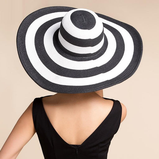 Casual Style Summer Beach Foldable Striped Wide Brim Sun Hat for Women - SolaceConnect.com