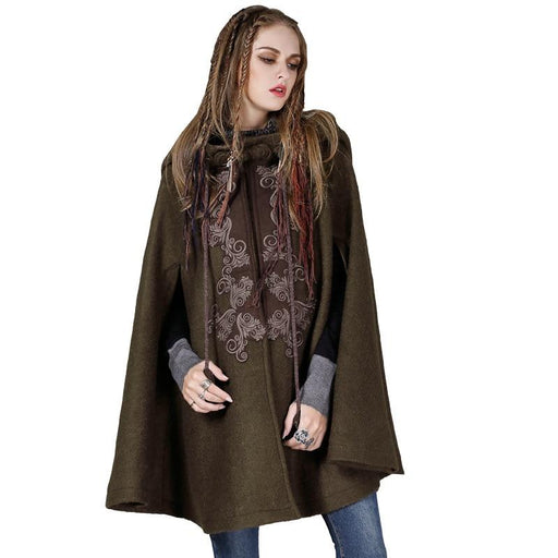 Vintage Wool Sleeveless Coat Spring And Autumn Outerwear Hooded Appliques Cloak Loose Tops - SolaceConnect.com