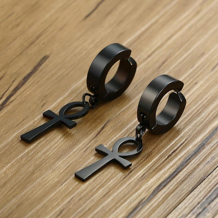 Black Stainless Steel Punk Hip Hop Ankh Cross Dangle Earrings for Men - SolaceConnect.com