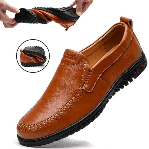 Men's Genuine Leather Comfortable Casual Flats Slip Chaussures Shoes - SolaceConnect.com