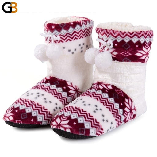 Coral Fleece Bootie Slippers Plush Lining Home Slippers Cute Ball Indoor Slippers Shoes Women - SolaceConnect.com