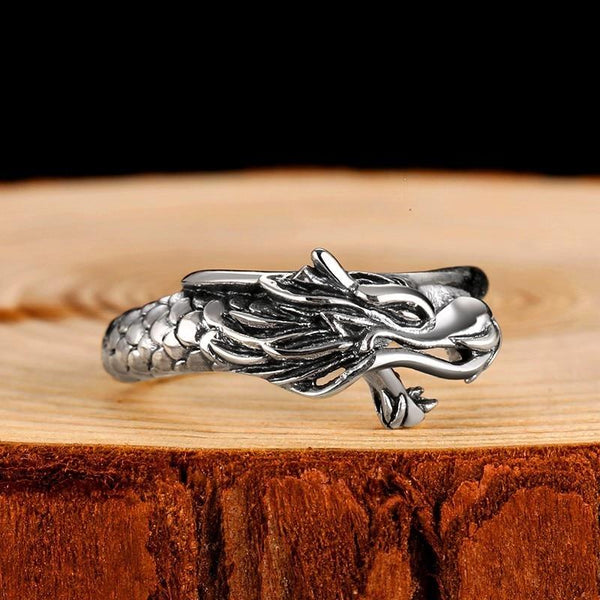 Vintage Hip Hop Steampunk 925 Sterling Silver Dragon Ring for Men & Women - SolaceConnect.com