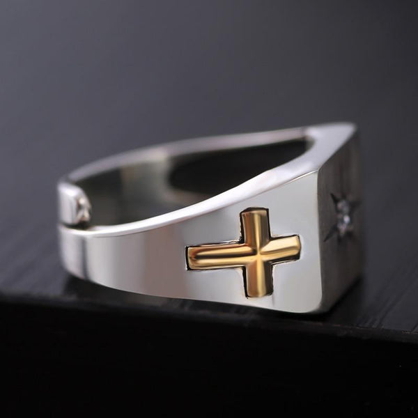 White Zirconia Cross Virgin Mary Resizable Silver Ring for Christian - SolaceConnect.com