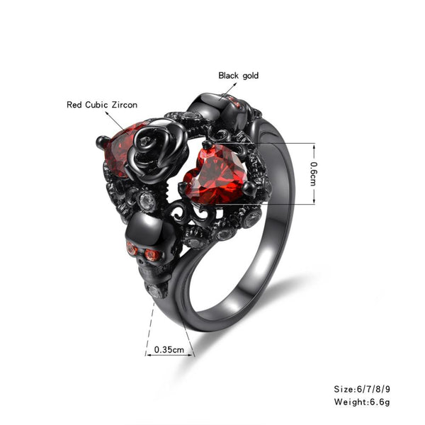 Casual Fashion Women's Charm Black Skull Wedding Party Engagement Rings - SolaceConnect.com