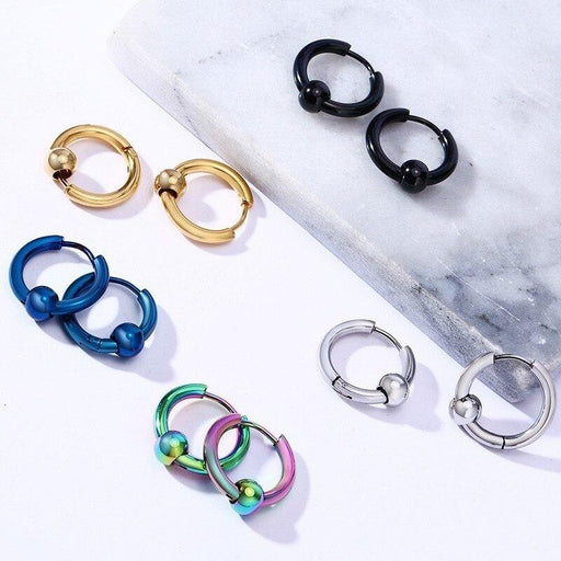 Stylish Fashion Stainless Steel Round Loop Hoop Earrings for Unisex - SolaceConnect.com