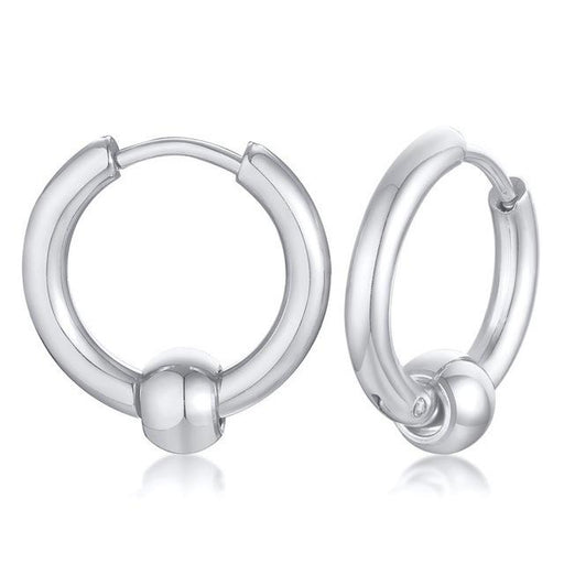 Mens Womens Stylish Silver Blue Gold Black Tone Stainless Steel Hoop Earrings Round Loop Earring for - SolaceConnect.com