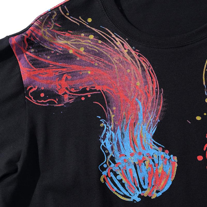 Unisex Colorful Jellyfish Painting Summer Short Sleeve Streetwear T-Shirt - SolaceConnect.com