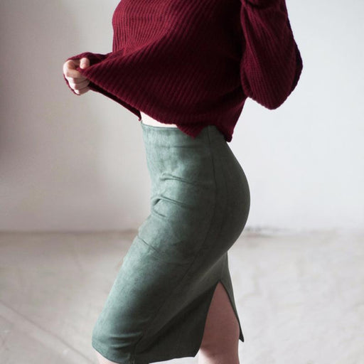 Sexy Women's Suede Elastic High Waist Multi-Color Bodycon Pencil Skirts - SolaceConnect.com