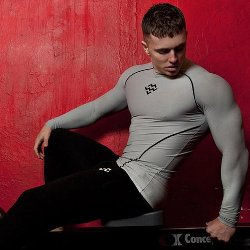 Men's Long Sleeve Compression Skinny Gyms Fitness Bodybuilding T-shirt - SolaceConnect.com