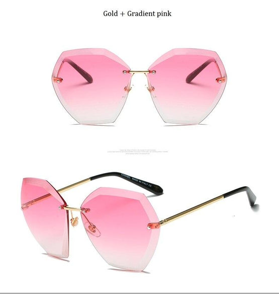 Pink Gradient Rimless Over-sized Fashion Sunglasses for Women - SolaceConnect.com