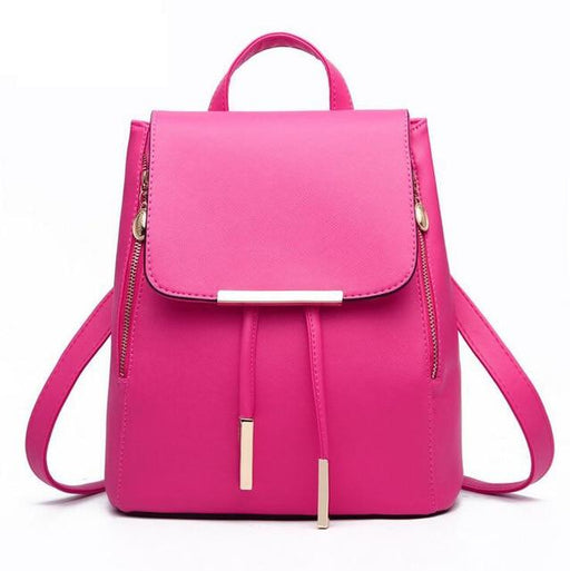 Women Backpack PU Leather Mochila Escolar School Bags For Teenagers Girls Top-handle Backpacks - SolaceConnect.com