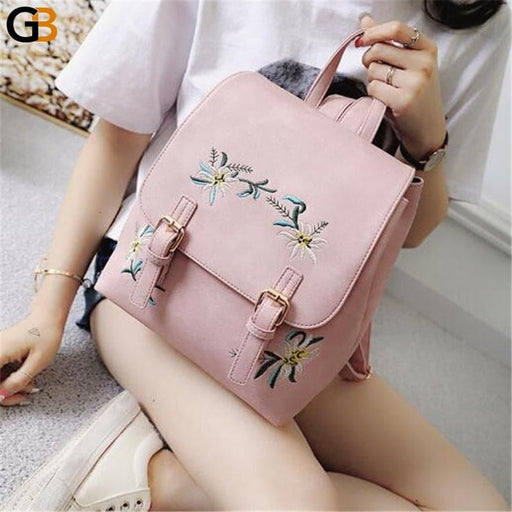 Women's Small Floral Embroidery Leather Rucksack Backpacks Schoolbags - SolaceConnect.com