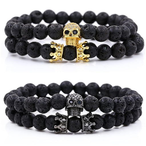 Men's Luxury Natural Lava Stone Skull Crown Pave CZ Beads Bracelet Sets - SolaceConnect.com