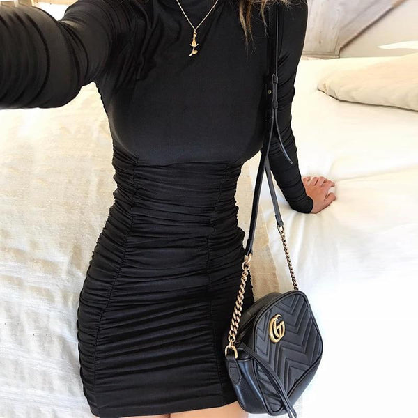 Sexy Women's Autumn Satin Long Sleeve High Neck High Waist Bodycon Dress - SolaceConnect.com