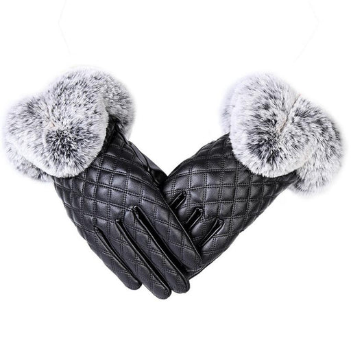 Elegant Girls Leather with Rabbit Fur Free Size Thick Winter Gloves - SolaceConnect.com