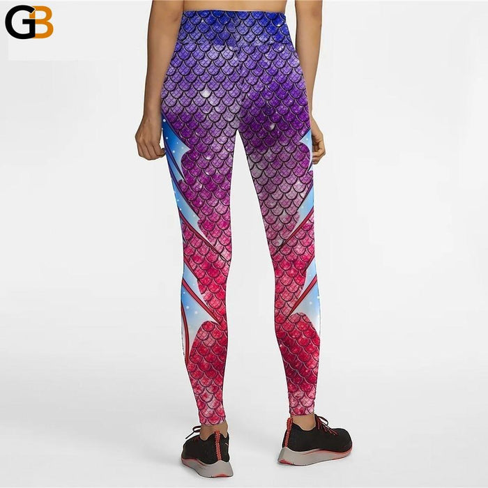 Gradient Color Mermaid Print High Waist Women's Leggings Workout Pants - SolaceConnect.com