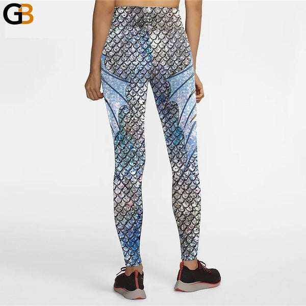 Fish Scale Gradient Color Mermaid High-Waist Women's Leggings for Fitness - SolaceConnect.com
