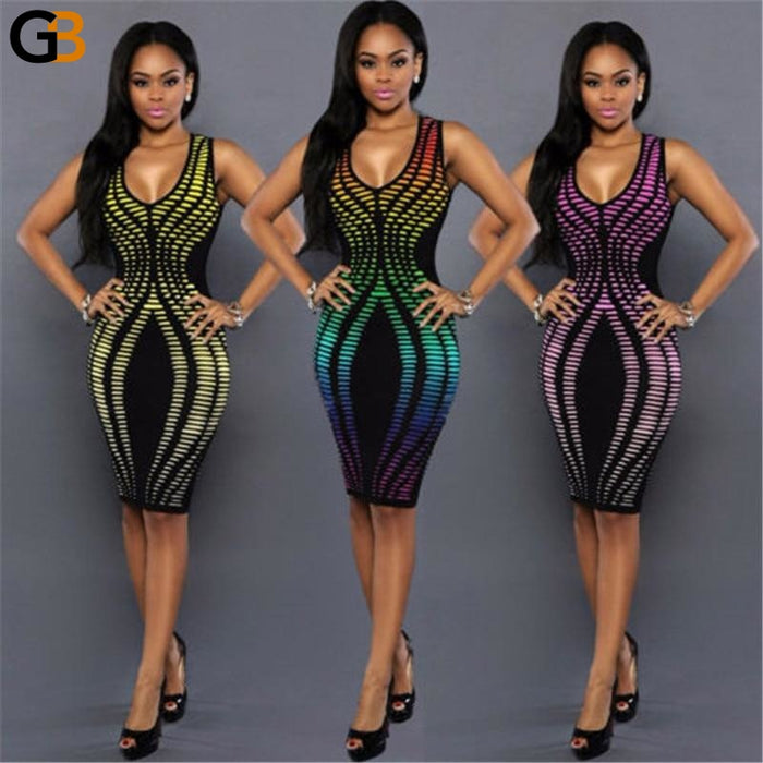 Women's Rainbow Color Summer Evening Party Bodycon Short Mini Dresses - SolaceConnect.com