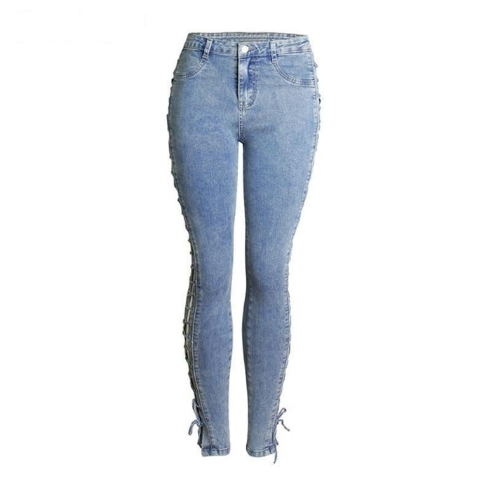 Fashion Side Lace-Up Jean Plus Size Women Slim Cool Stretchy Pencil Denim Pants Trousers Mid Waist - SolaceConnect.com