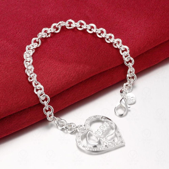 Women's Fashion Valentine's Day Gift Silver Color Heart Hollow Out Bracelet - SolaceConnect.com