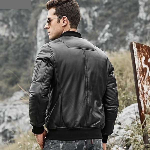 Men's Real Leather Down Jacket Men Genuine Lambskin Leather Baseball Jacket Warm White Duck Down - SolaceConnect.com