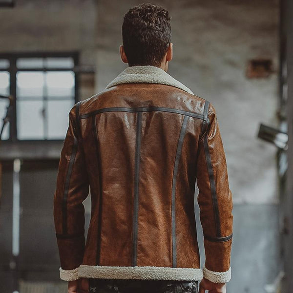 Men's Genuine Pigskin Leather Shearling Motorcycle Bomber Jackets - SolaceConnect.com