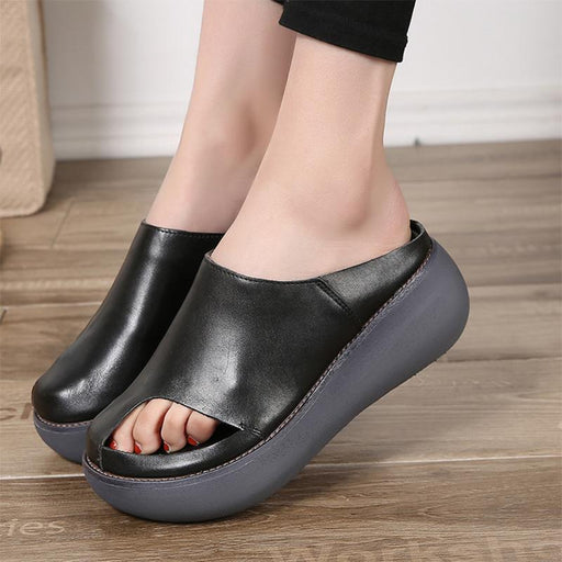 Vintage Leather Handmade Slides Flip Flop Platform Sandals for Women - SolaceConnect.com