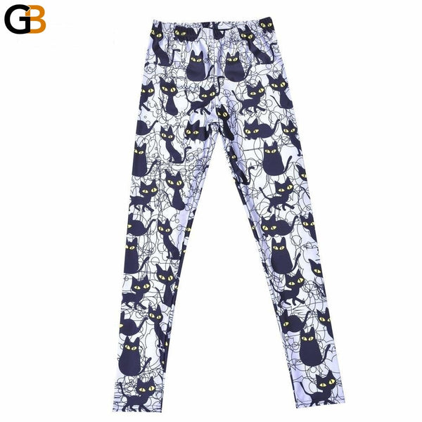 Sexy Women Pants Womens Trousers Fashion Cute cartoon black cat Pant Capris Cute Fitness - SolaceConnect.com