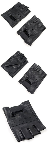 Men's Sheep Leather Black Driving Fitness Half Finger Tactical Gloves - SolaceConnect.com