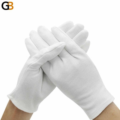 Unisex Fashion White Medium Thick Cotton Cleaning Inspection Work Gloves - SolaceConnect.com