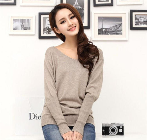 Spring autumn cashmere sweaters women fashion sexy v-neck sweater loose 100% wool sweater batwing - SolaceConnect.com