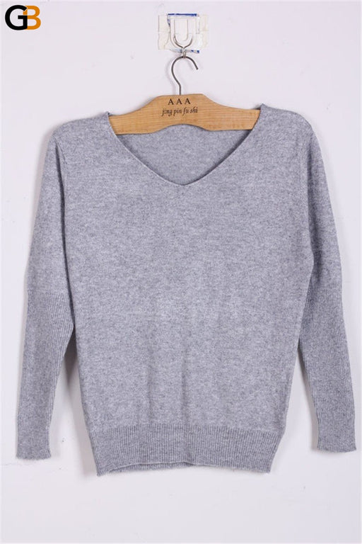 Sexy Women's Spring Autumn Cashmere Wool V-Neck Batwing Loose Sweater - SolaceConnect.com