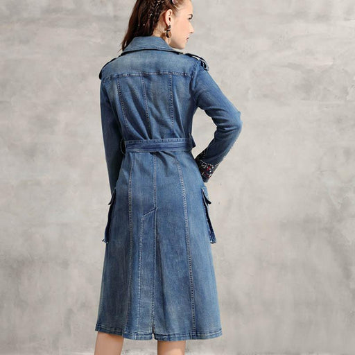 Denim Double Breasted Women Long Sleeve S-XL Vintage Embroidery Turn Down Collar Trench Autumn Coats - SolaceConnect.com