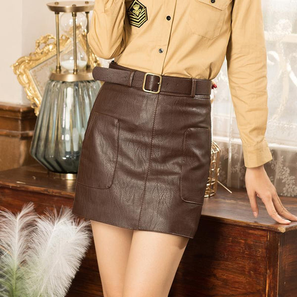 Casual Women's Vintage Autumn High Waist Mini Pencil Skirts with Belt - SolaceConnect.com