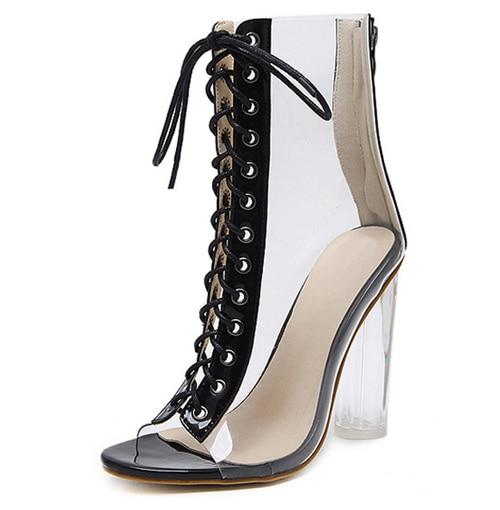 Sexy Women's PVC Transparent Clear Chunky Gladiator Sandals Peep Toe Shoes - SolaceConnect.com