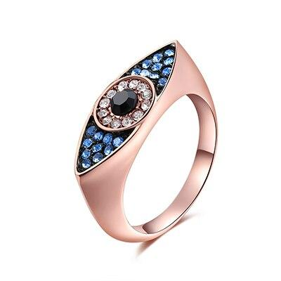 Fashion Women's Dazzling Blue Evil Eyes Rings for Wedding Party - SolaceConnect.com