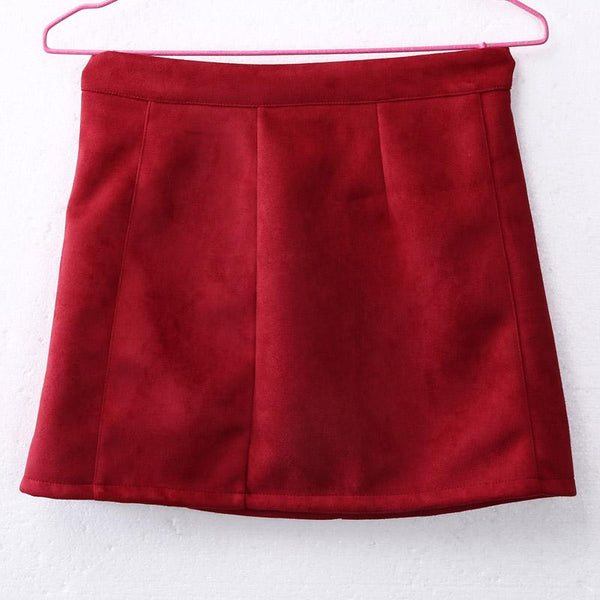 Summer Fashion Elegant Suede Solid High Waist Slim A-Line Ladies Skirts - SolaceConnect.com